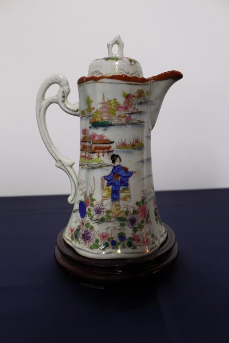 Antique Japanese Porcelain Painted Hot Chocolate Pot