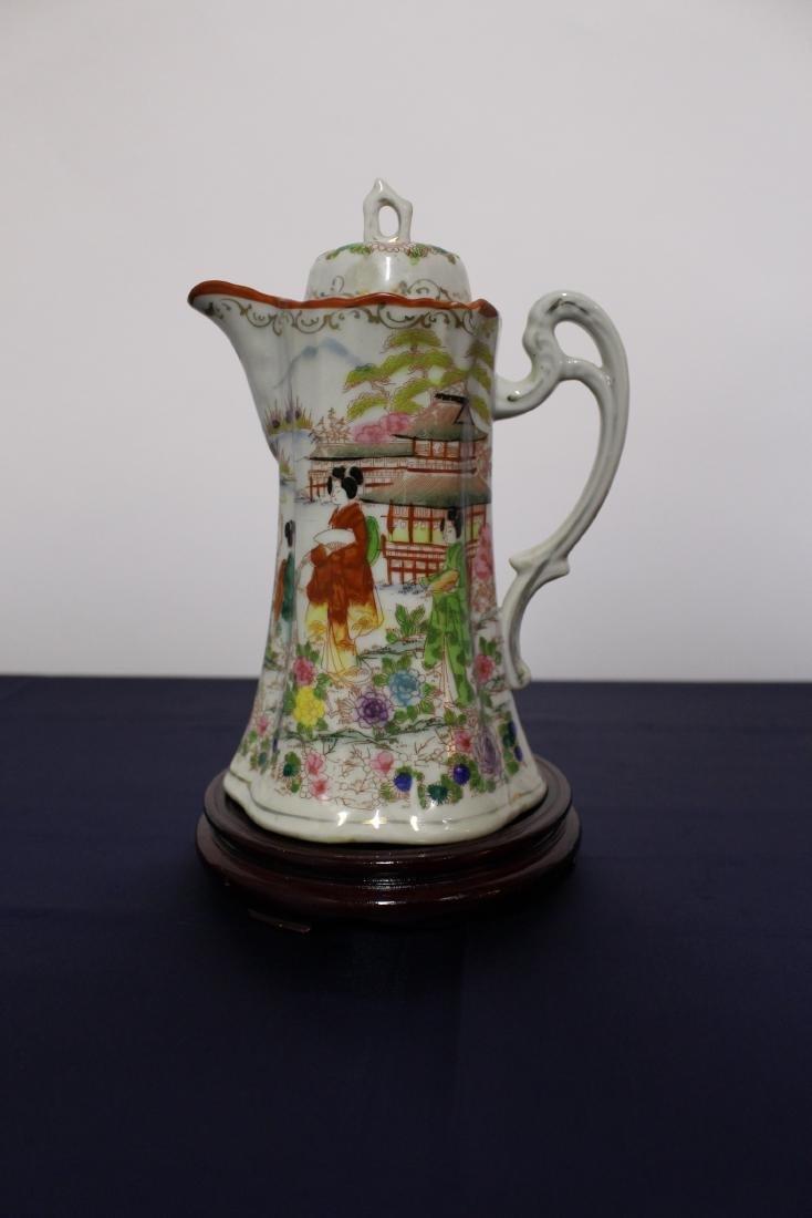 Antique Japanese Porcelain Painted Hot Chocolate Pot - 2