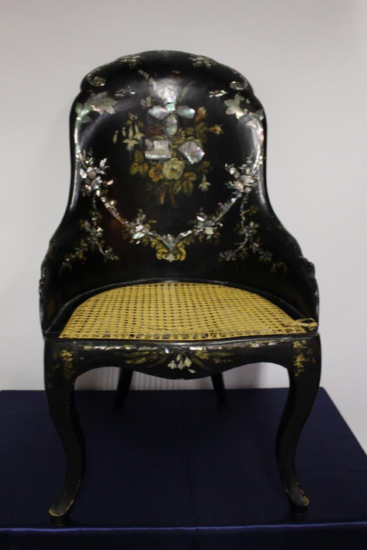 Victorian Mother of Pearl Black Wooden Chair