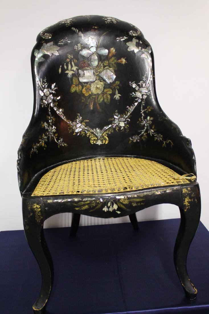 Victorian Mother of Pearl Black Wooden Chair - 2