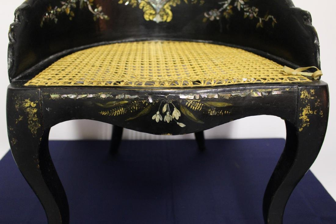 Victorian Mother of Pearl Black Wooden Chair - 3
