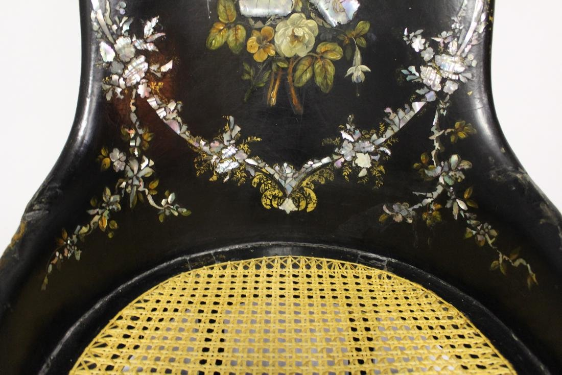 Victorian Mother of Pearl Black Wooden Chair - 4