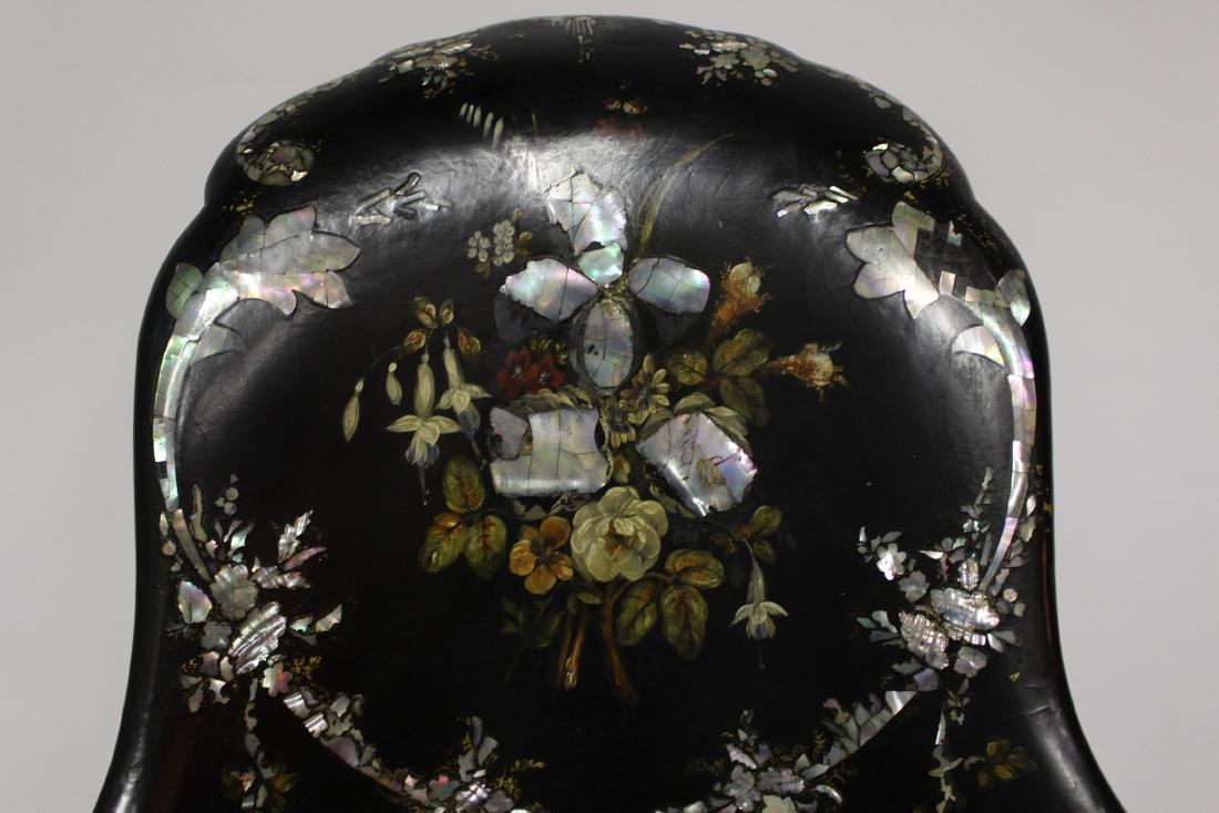 Victorian Mother of Pearl Black Wooden Chair - 5