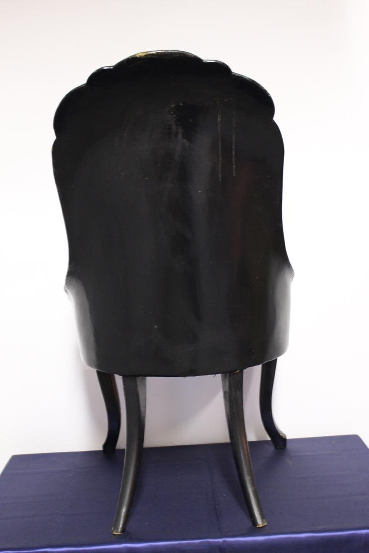 Victorian Mother of Pearl Black Wooden Chair - 6