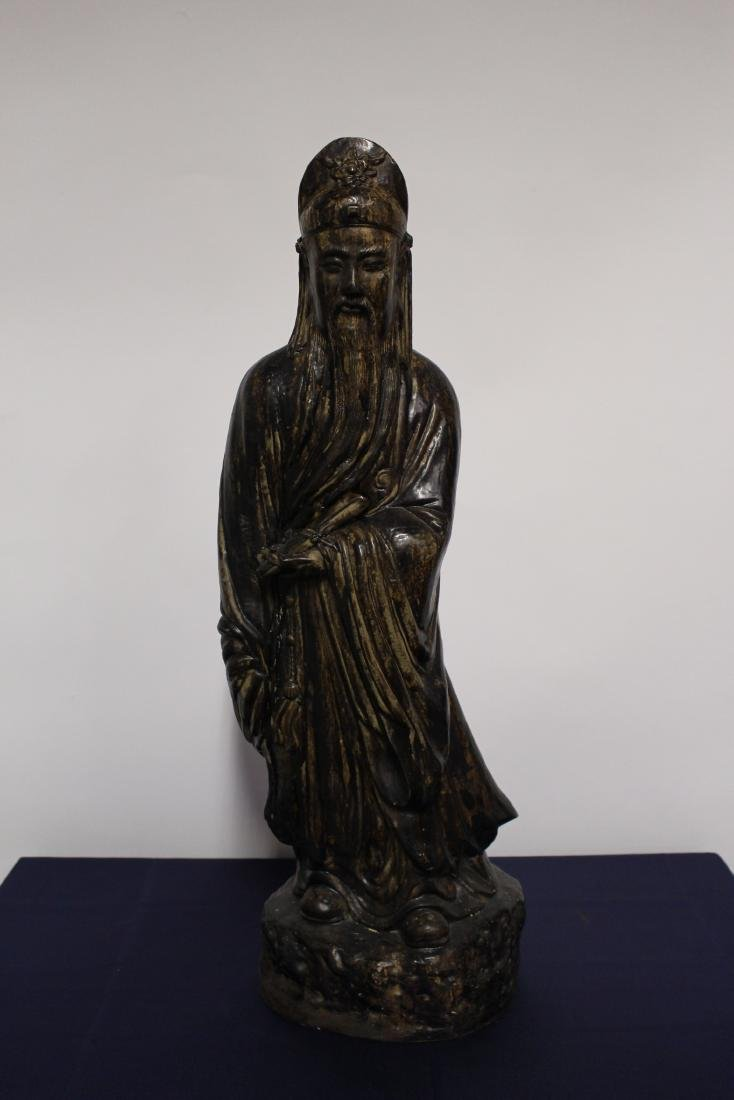 Patinated Large Plaster Sculpture of Chinese Scholar