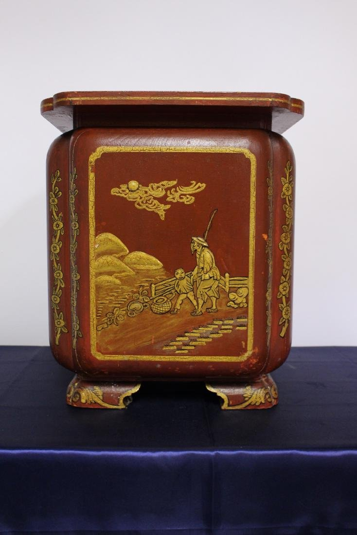 Japanese Painted Wooden Umbrella Stand Circa 1910