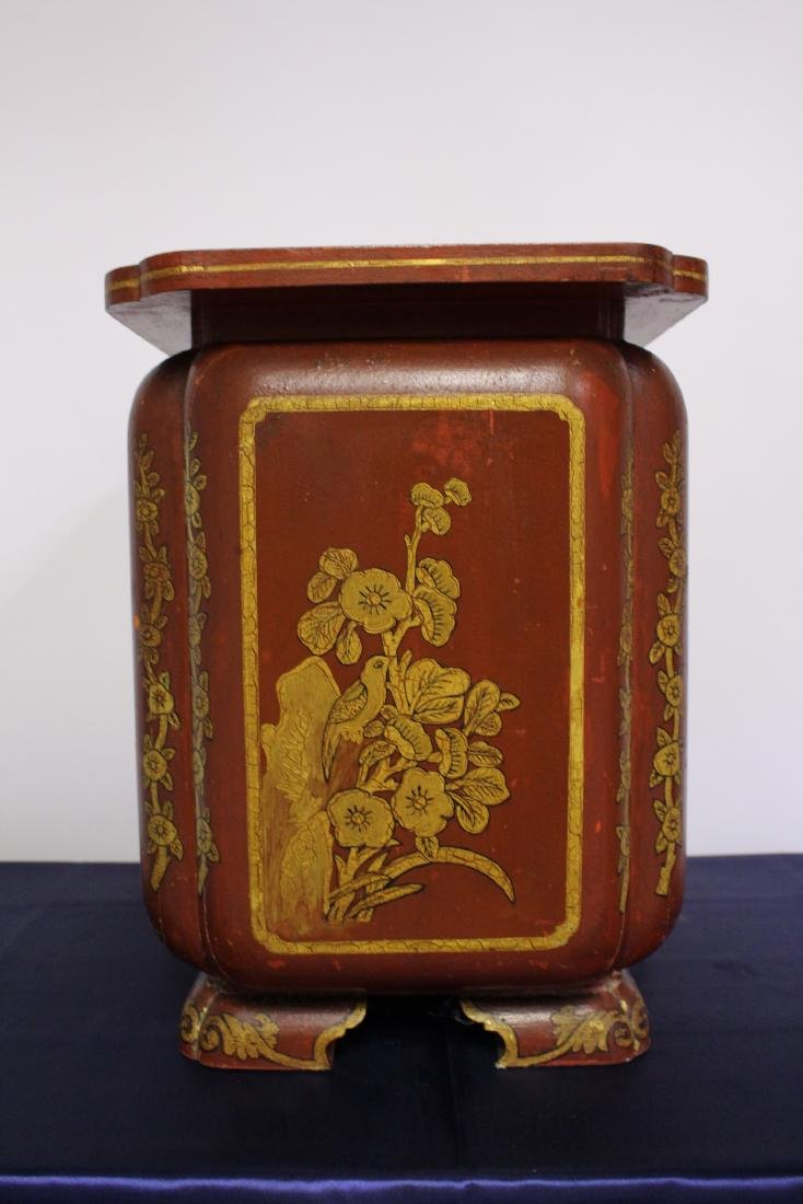 Japanese Painted Wooden Umbrella Stand Circa 1910 - 3