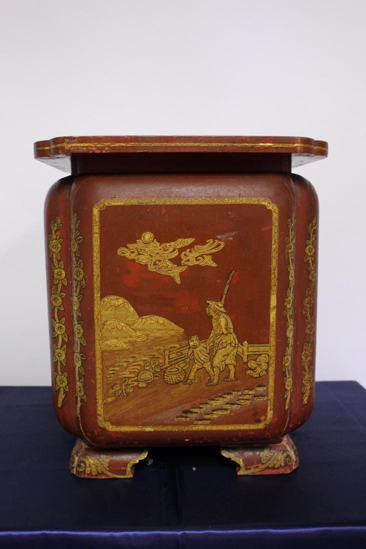 Japanese Painted Wooden Umbrella Stand Circa 1910 - 5
