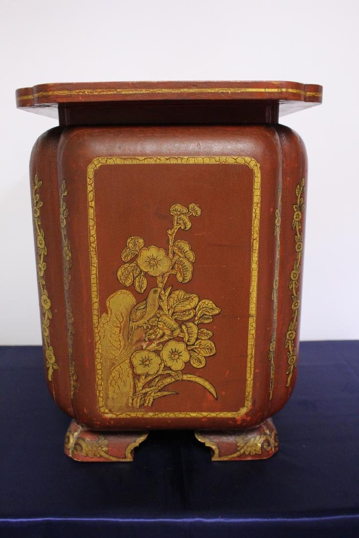 Japanese Painted Wooden Umbrella Stand Circa 1910 - 6