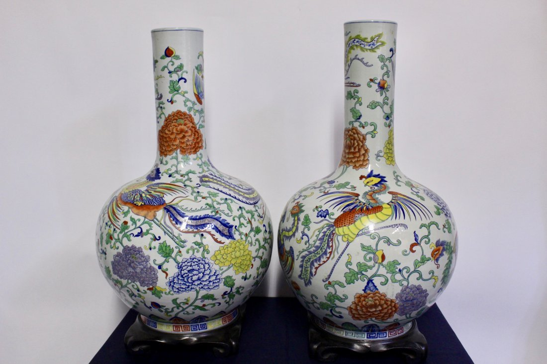 Pair of Large Painted Chinese Urns