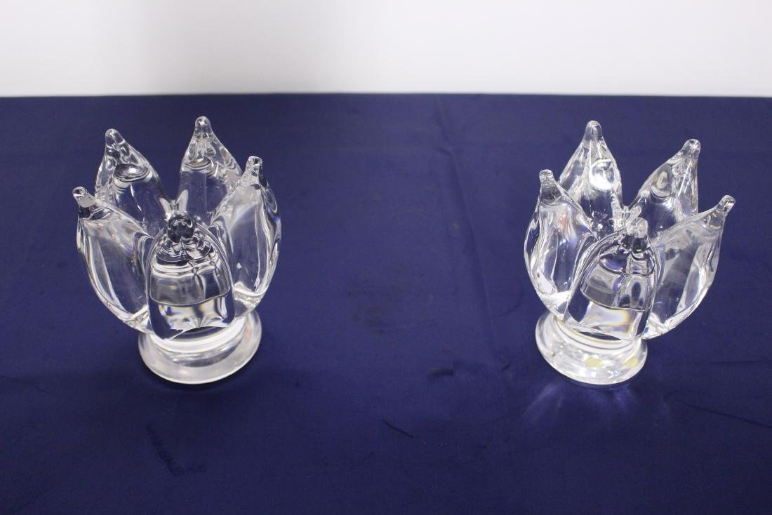 Pair of Murano Style Glass Candlesticks Signed D'Costa