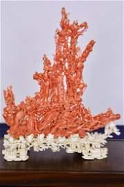 Rare Tan Kuang Coral Carving with Guan Yin