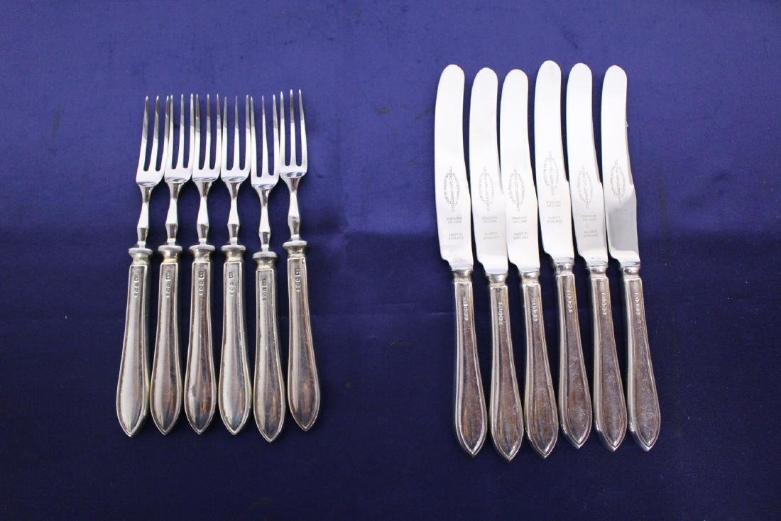 English Sterling Silver Set of 6 Knives and 6 Forks