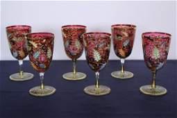C. 1890 Match Set of 6 Splendid Moser Goblets