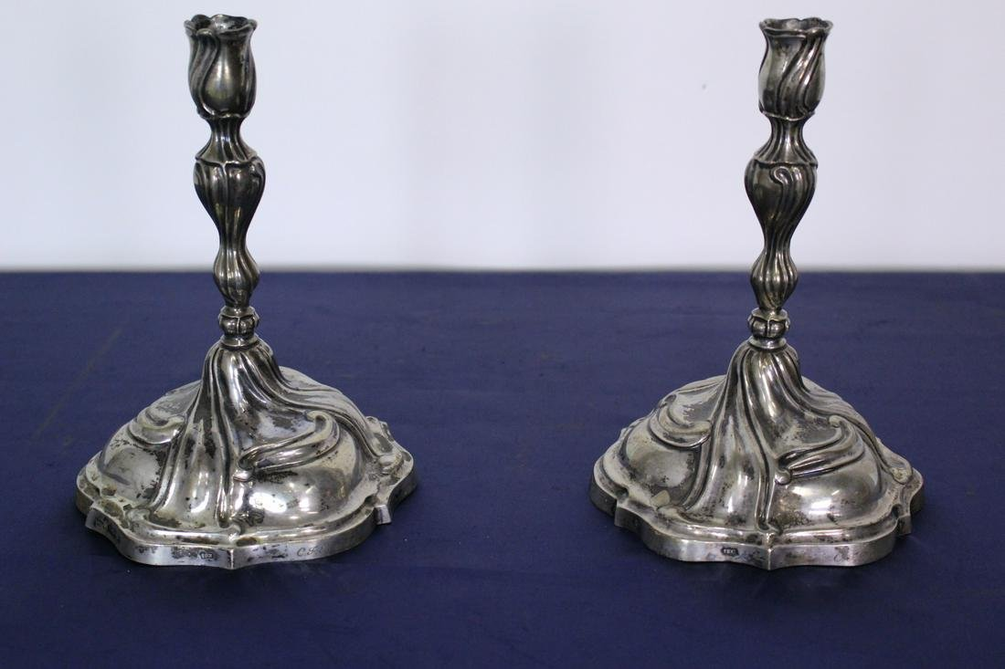 1784 Pair of Augsburg Sterling Silver Candle Holders