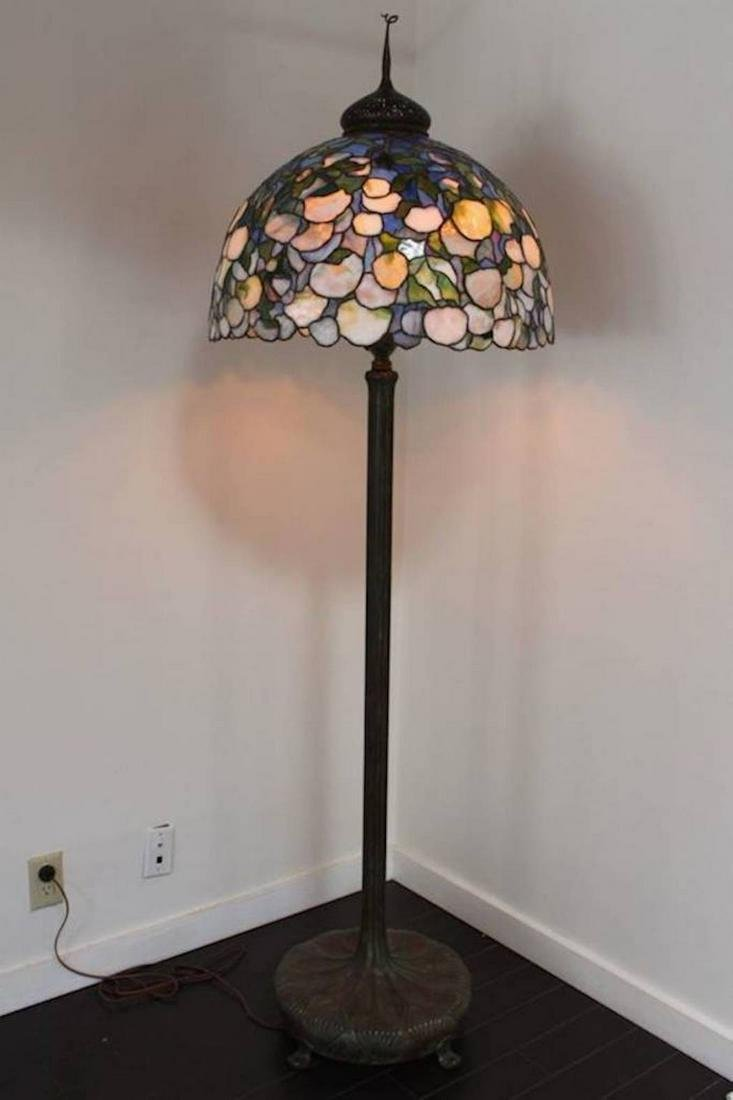 Signed Tiffany Snowball Floor Lamp