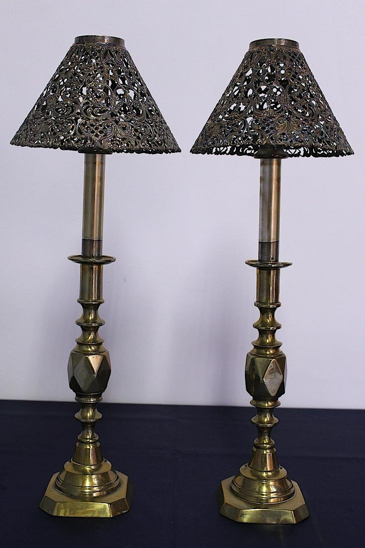 Pair of Victorian Diamond Point Brass Candle Holders