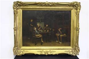 C 1890 Nicolaas Steffelaar Oil on Canvas of Family