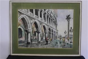 Large Watercolour of Venice by Antonio Missinato