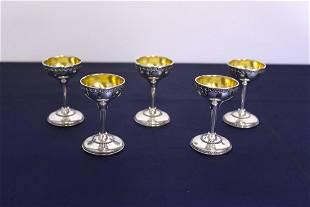 C 1950 Five Israeli Sterling Silver Goblets