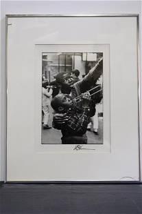 Leo Touchet 1989 BW Signed Photo of 2 Boys