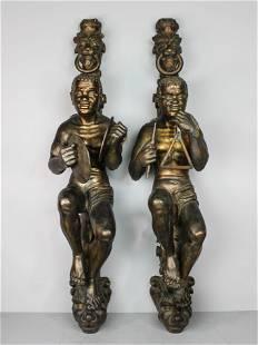 C 1840 Pair of Finely Carved Blackamoor Figures
