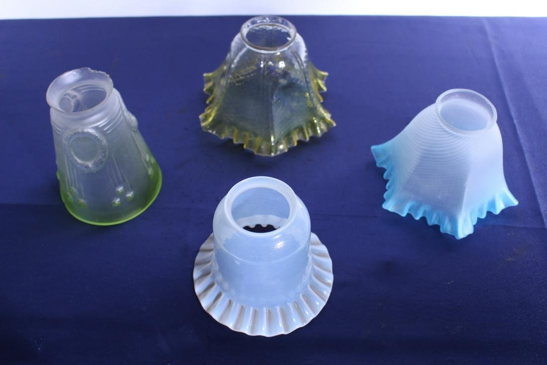 4 Victorian Assorted Pressed Glass Shades