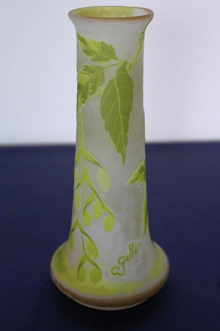 C. 1890 Emile Galle Bulbous Frosted Cameo Glass Vase