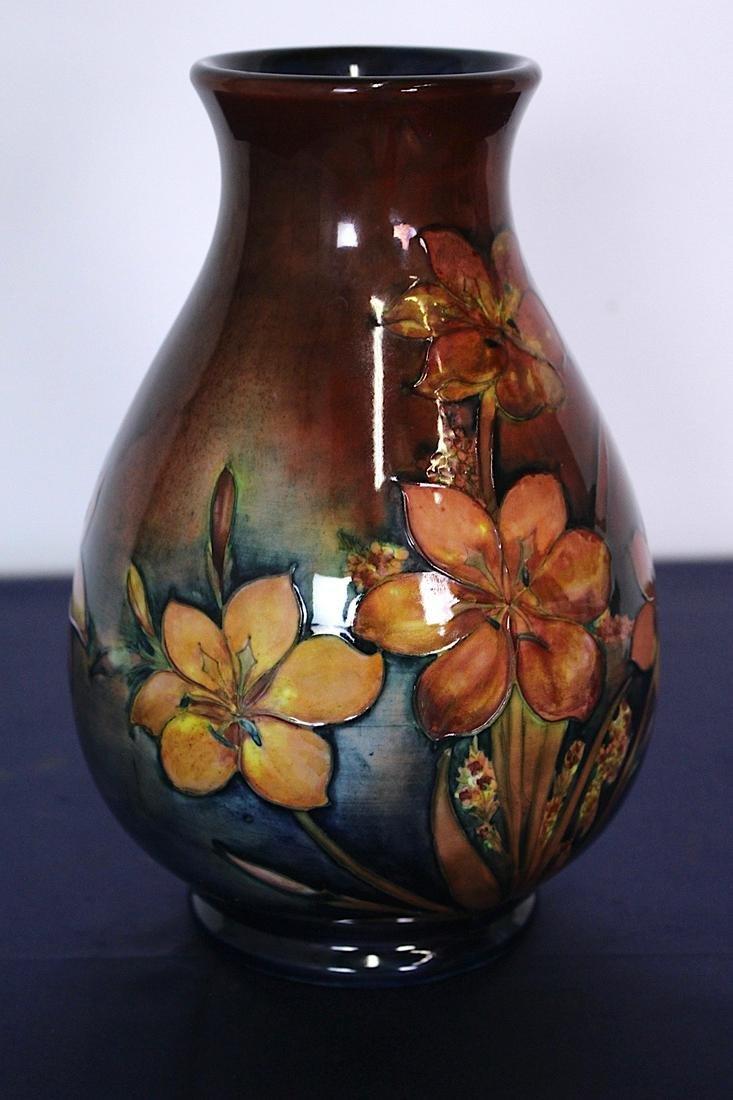 Signed Moorcroft Decorated Red Vase