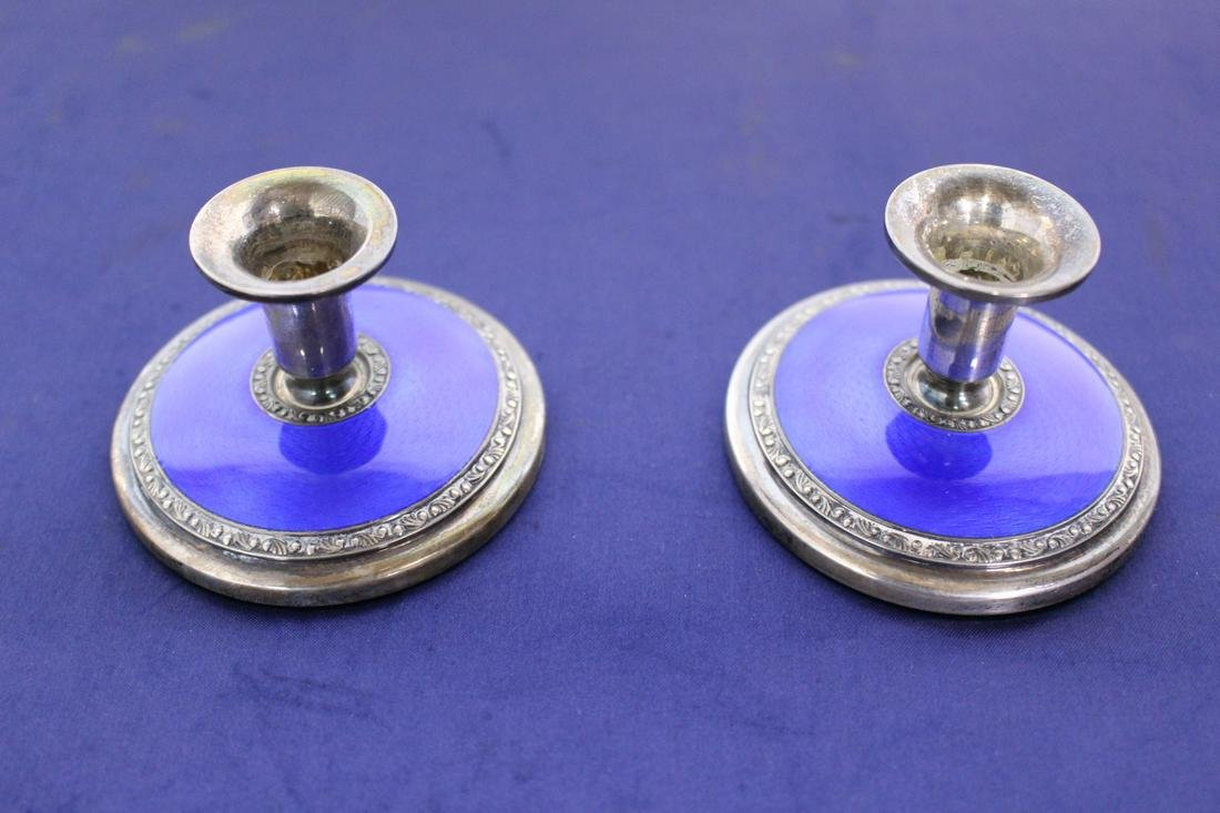 Pair 925 Sterling Silver Candlesticks