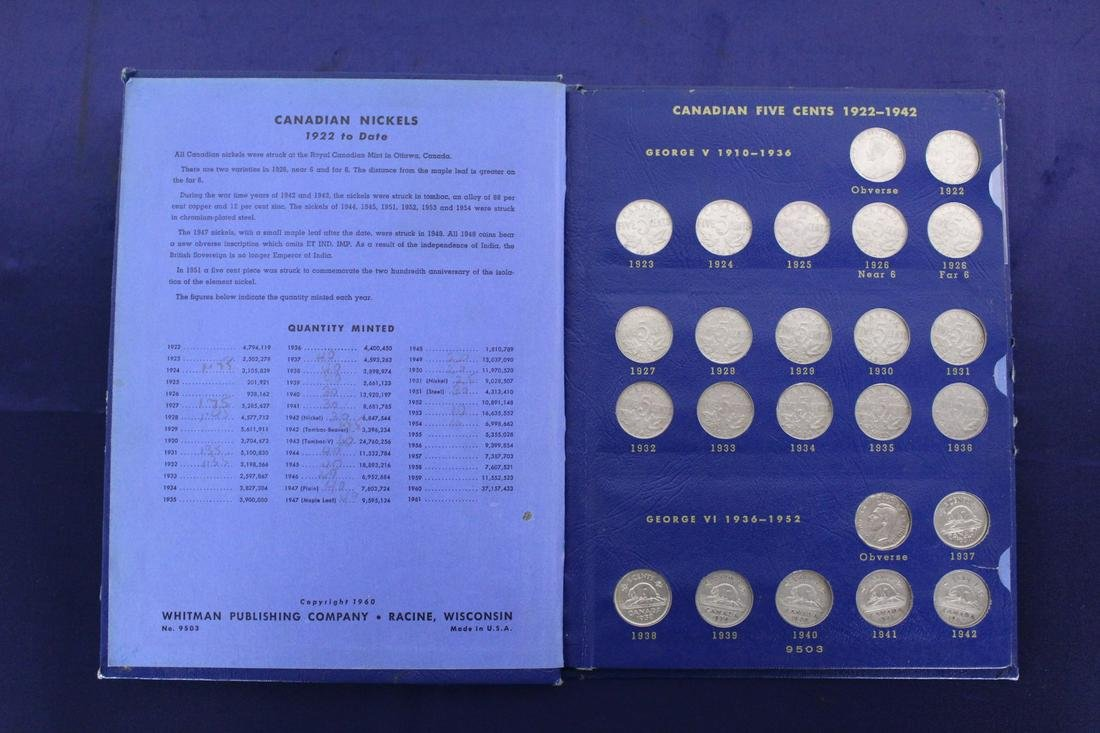 1922 to 1965 Complete Set of Canadian Nickels