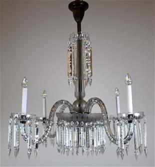 4 Arm Victorian Crystal Chandelier