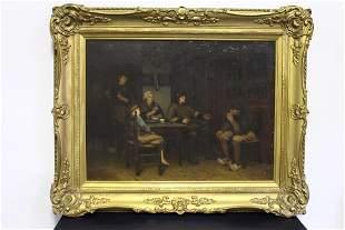 C. 1890 Nicolaas Steffelaar Oil on Canvas of Family