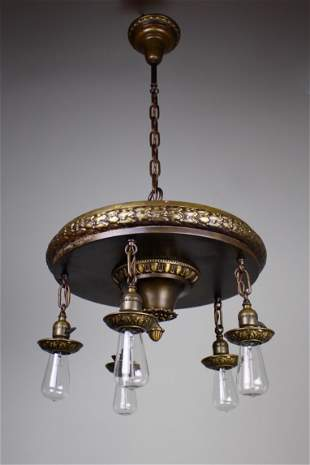 1920s 5 Light Neoclassical Revival Dining Room Fixture