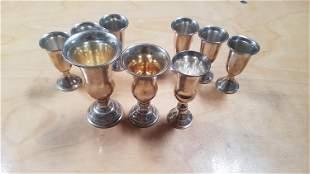 C. 1900 Set of 9 Sterling Silver Goblets