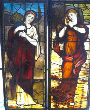 Ca. 1890 pair of Daniel Cottier stained glass windows