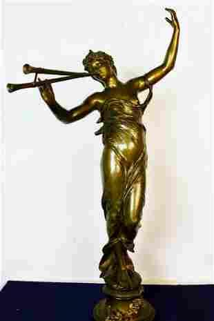 C.1900 Classical Maiden Bronze Sculpture