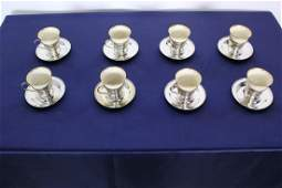 C 1850 Set of 8 Silver and Lenox Ceramic DemiTasse Set