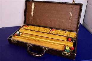 Complete Vintage Bakelite Mahjong Set in Leather Case