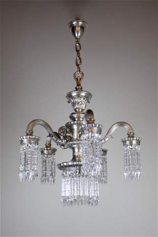 Neo Classical Silver Plate Crystal Chandelier