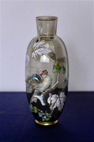 Rare Moser Glass Vase with Raised Enamel Decorations