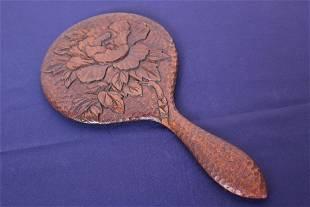 Vintage Craved Wood Hand Mirror