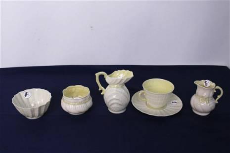 Set of 5 Vintage Belleek Irish Teacup, Creamer, Milk