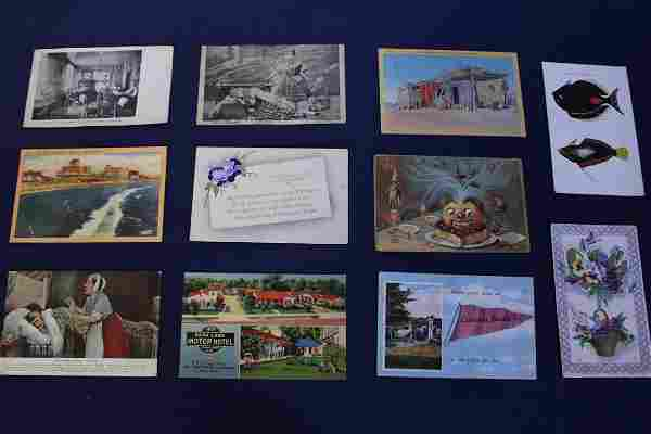 Collection of Antique Postcards, Trade Cards and