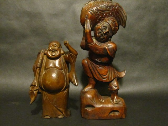 TWO WOOD CARVED FIGURES