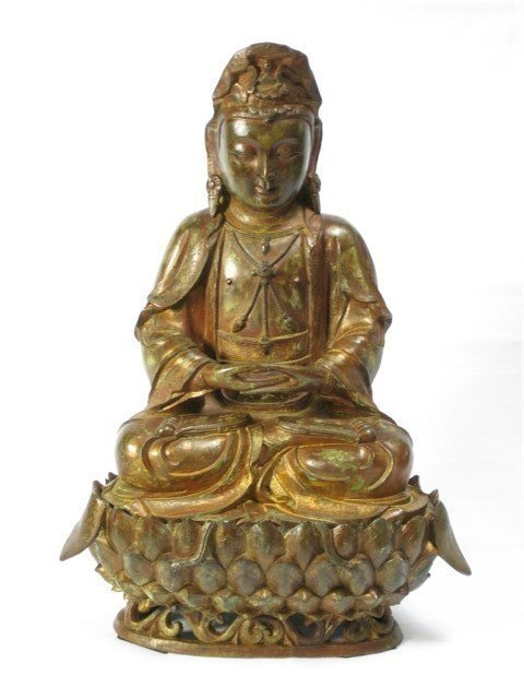 A Gilt-Bronze Figure of Guanyin