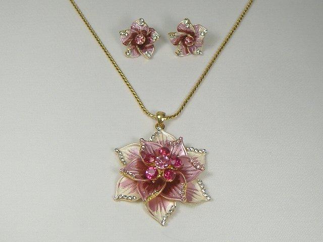 Vintage Crystal Blooming Flower Necklace Set