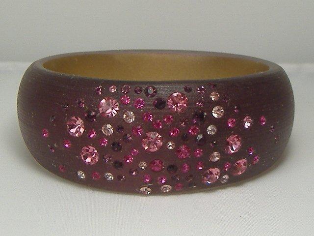 Vintage Crystal Cranberry Lucite Bangle Bracelet