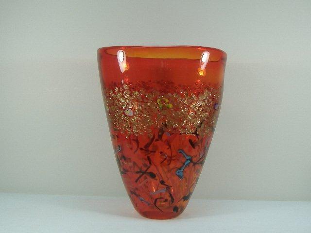Signed Ann Primrose Murano Collection Adventurine Vase