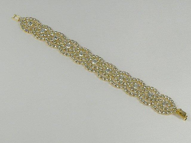 Vintage Swarovski Crystal Gold Tone Tennis Bracelet